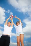 Play time. Brother and sister play sport game Stock Images