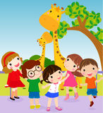 Play time. Illustration of happy kids on zoo Royalty Free Stock Photos