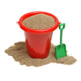 Play Time. An isolated shot of a bucket of sand for the childrens play time either on vacation, at the beach, or just at home in the sandbox Stock Images