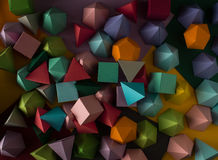 Play time. Colorful abstract geometric background with three-dimensional solid figures. Pyramid Dodecahedron prism rectangular cube arranged on colored paper Stock Image