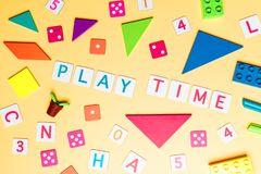 Play time concept toy and objects for child education concept on Yellow background stock image