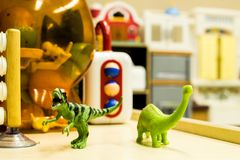 Play time at the Daycare. A number of types of toys found at a simple daycare, kindergarten class, or even in one`s home royalty free stock photo