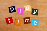 Play time - For Education. Play time in lower case for school kids royalty free stock image
