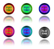Play time fun buttons. Stock Photos
