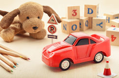Play time. Setup with children toys Stock Photo