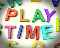 Play Time Written In Multicolored Kids Letters. Play Time Written In Multicolored Plastic Kids Letters Stock Images