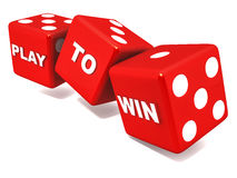 Play to win. Play and win concept, red gamble dice on white background, casino and slot machine theme Stock Photography