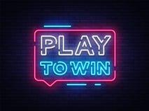 Play to win neon sign. Gambling slogan, Casino, Betting design element, Night neon signboard. Vector illustration.  Stock Photos