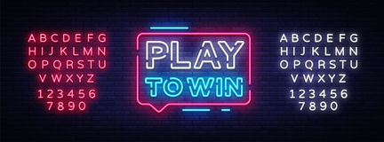 Play to win neon sign. Gambling slogan, Casino, Betting design element, Night neon signboard. Vector illustration. Editing text neon sign Royalty Free Stock Images