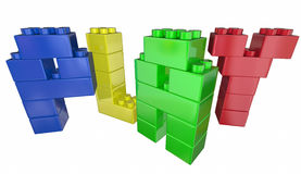Play Toy Building Blocks Letters Word. 3d Illustration Stock Image