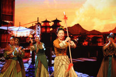 "Play tricks-Large scale scenarios show"" The road legend"". The drama about a Han Princess and king of Tibet Song Xan Gan Bbu and the story, across royalty free stock image"