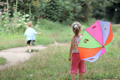 Play with umbrella royalty free stock photos