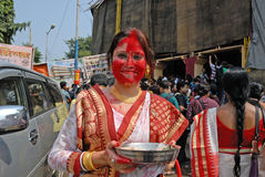 Play With Vermilion. Married Bengali Hindu women smear and play with vermilion during Sindur Khela traditional ceremony on the final day of Durga Puja festival Stock Images