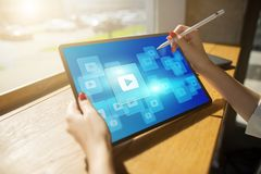 Play video button. Media player window on screen. Streaming. Marketing content strategy. Play video button. Media player window on screen. Streaming. Marketing stock photo