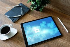 Play video button. Media player window on screen. Streaming. Marketing content strategy. royalty free stock image