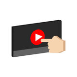 Play video concept symbol. Flat Isometric Icon or Logo. Royalty Free Stock Image