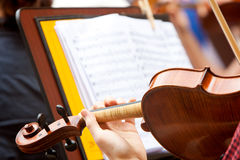 Play the violin. Man playing the violin with a musical score in the background Royalty Free Stock Photo
