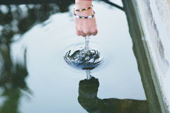 Play with water. Session with peacefull cold water Royalty Free Stock Image