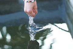 Play with water. Session with peacefull cold water Royalty Free Stock Photo
