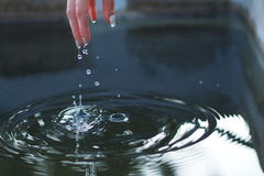 Play with water. Session with peacefull cold water Royalty Free Stock Photos
