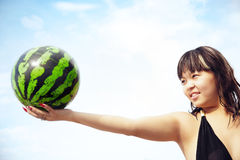 Play with watermelon Stock Photos