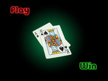 Play Win. Suited high cards Ace of Spades and King Of Spades on poker green background vignetted. Red play and green win with neon effect on a black background Stock Images