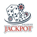 Play and win at casino jackpot promotional emblem. With big dices and striped poker chips with card suits symbols isolated cartoon vector illustration on white stock illustration
