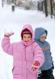 Play in winter. Brothers are playing in winter royalty free stock photos