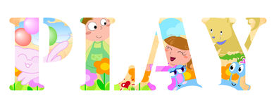 PLAY word. The word PLAY made by happy kids, cats, dogs and funny flowers. cartoon illustration Stock Image