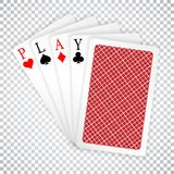 Play word aces poker hand fly and one closed playing cards suits. Winning poker hand vector illustration