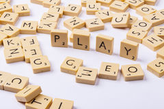 Play word and letters - white background. Royalty Free Stock Photos