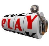 Play Word Slot Machine Wheels Fun Entertainment Stock Photo