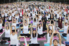 Play yoga. Thousands of people played yoga in Taipei, Taiwan. Photo took on Nov. 11, 2012 Royalty Free Stock Photo