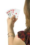 Play your cards right - casual woman Royalty Free Stock Image