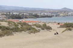 Playa在Maspalomas的del Ingles大加那利岛的 免版税图库摄影