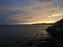 Playa布朗卡岩石日落 库存图片