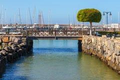 Playa布朗卡的,兰萨罗特岛小游艇船坞Rubicon 免版税库存图片