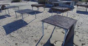 Playa abandonada en Pomorie, Bulgaria almacen de metraje de vídeo