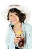 Playa adolescente con té Foto de archivo