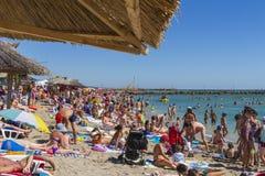 Playa apretada Imagenes de archivo