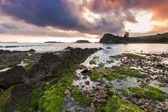 Playa Aramar, Antromero. Sunset Aramar Beach in Antromero, Luanco. Asturias Stock Photos
