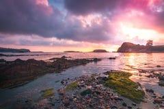 Playa Aramar, Antromero. Sunset Aramar Beach in Antromero, Luanco. Asturias Stock Image