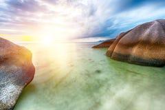 Playa Argent del ` de la fuente D de Anse imágenes de archivo libres de regalías
