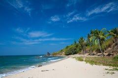 Playa asoleada con los árboles de coco Imagen de archivo libre de regalías