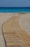Playa asoleada en Grecia Foto de archivo libre de regalías
