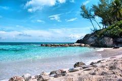 Playa azul de la laguna de Bahamas Imagen de archivo