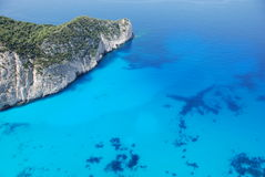 Playa azul Grecia del mar de la isla de Zakynthos Foto de archivo libre de regalías