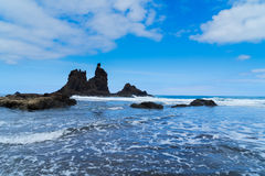 Playa Benijo, Tenerife νησί, Ισπανία παραλιών Στοκ φωτογραφία με δικαίωμα ελεύθερης χρήσης