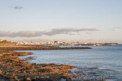 Playa Blanca,兰萨罗特岛视图  免版税库存照片