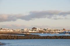 Playa Blanca,兰萨罗特岛视图  库存图片